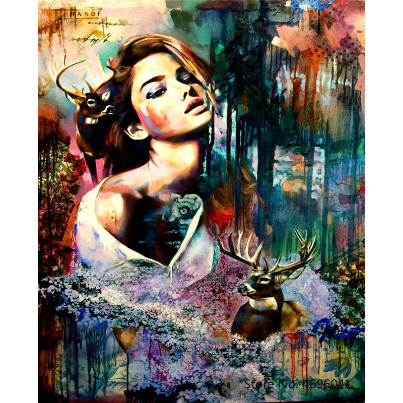 Painting By Numbers Frameworks Coloring By Numbers Home Decor Pictures Figure Painting Decorations RSB8326