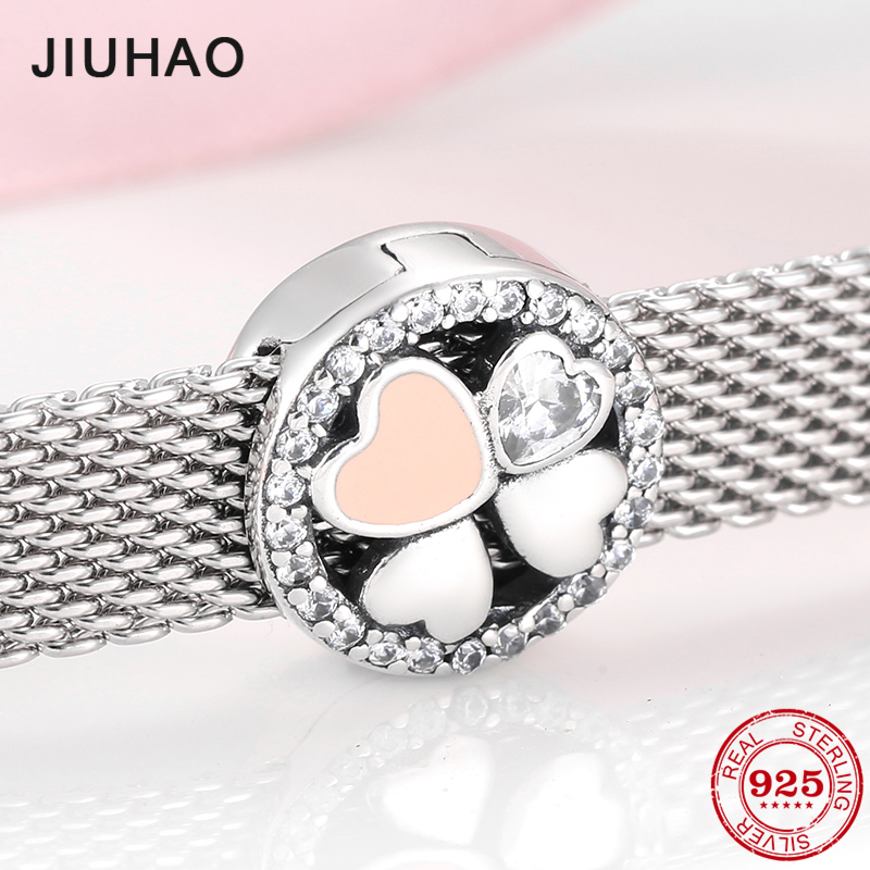 Hot 925 Sterling Silver Crystal Zircon Lucky Clover Round Clips Beads Jewelry Making Fit Original Reflection Clip Charm Bracelet