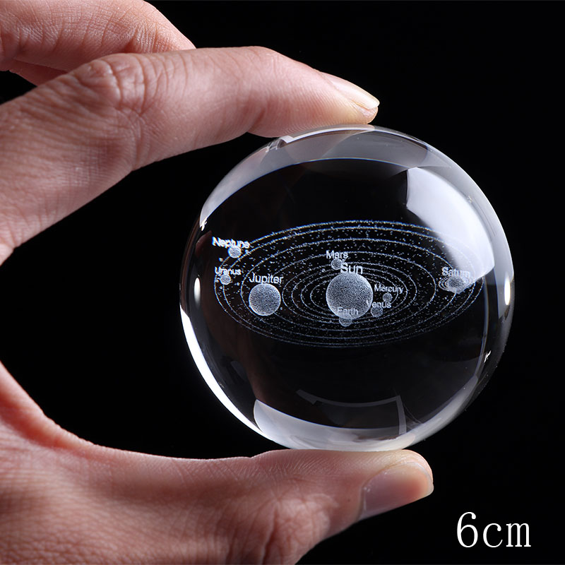6CM Laser Engraved Solar System Ball 3D Miniature Planets Model Sphere Glass Globe Ornament Home Decor Gift Office Decoration