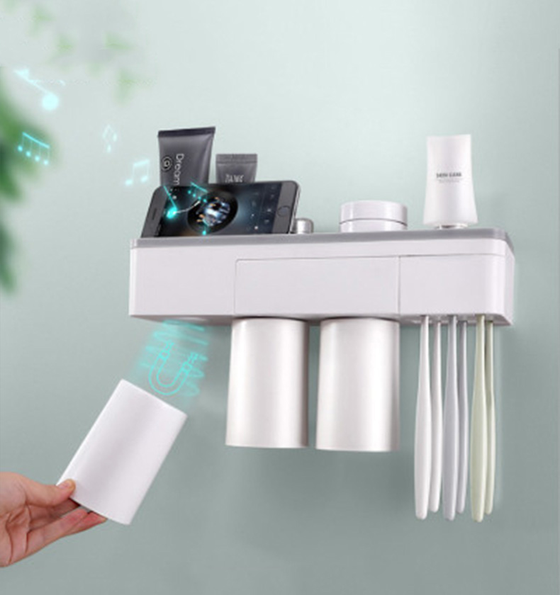 Creative Toothbrush Holder Automatic Toothpaste Dispenser Extruder Magnetic Suction Toothbrush Cup For Bathroom Storage Shelf image