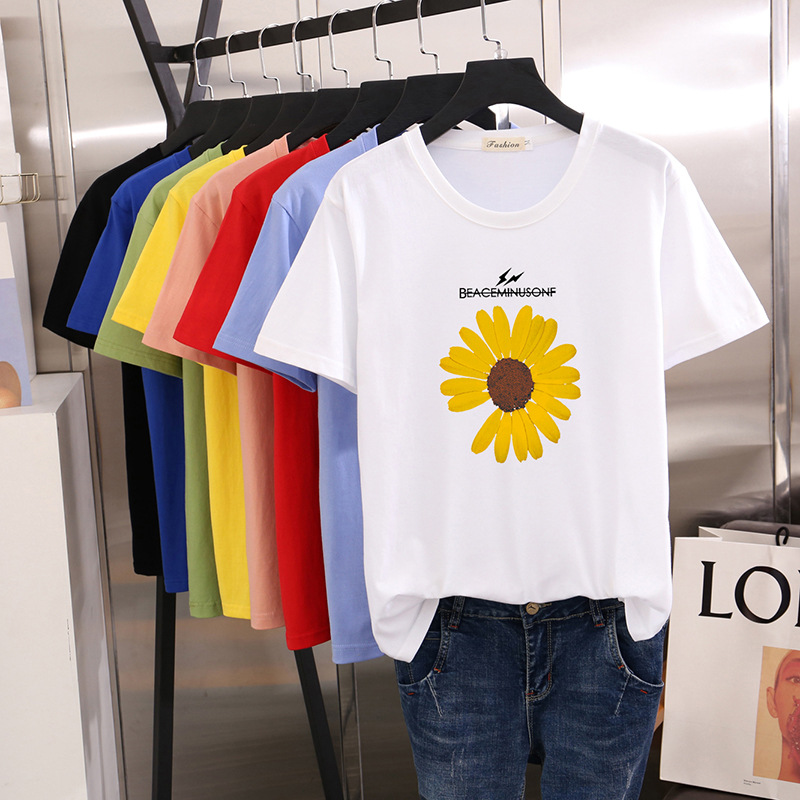 2020 Summer New Printed Cute Short Sleeve 100% Cotton T-Shirt Female Western Style Loose Half Sleeve Women A Generation of Fat