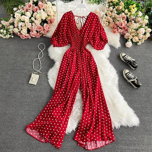 Autumn Sexy Polka Dot Romper Women Elegant V-Neck Puff Short Sleeve High Waist Jumpsuit Female Loose Wide Leg Playsuits Fashion 1