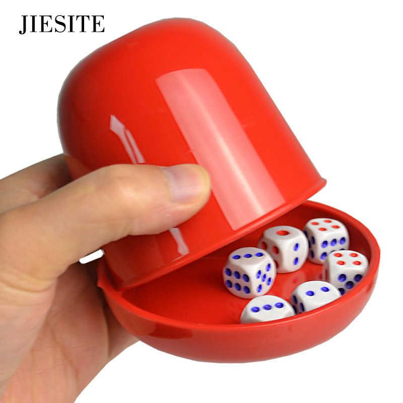 Copo plástico dos dados do pôquer conjunto com bandeja/tampa 6 cubos agitando copo bebendo jogo de tabuleiro casino jogo de jogo de dados caixa logotipo feito sob encomenda e cor