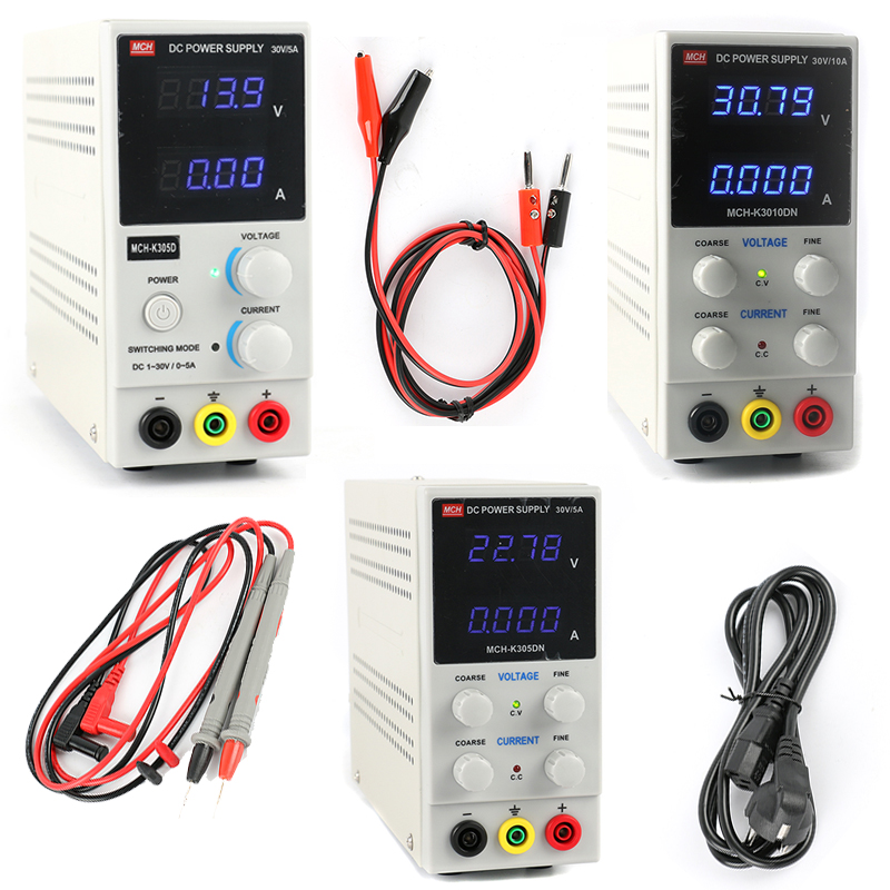Mini Laboratory Digital LED Adjustable <font><b>MCH</b></font> K3010DN <font><b>K305D</b></font> K305DN Regulated Switching DC Power Supply 30V 10A 5A 0.01V 0.001A image