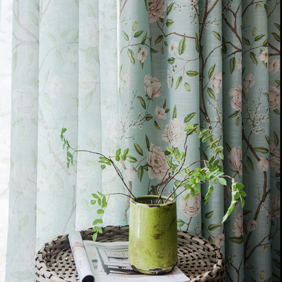 american countryside green rural print floral blackout curtains for living room window screen bedroom tulle sheer drapes my075 4