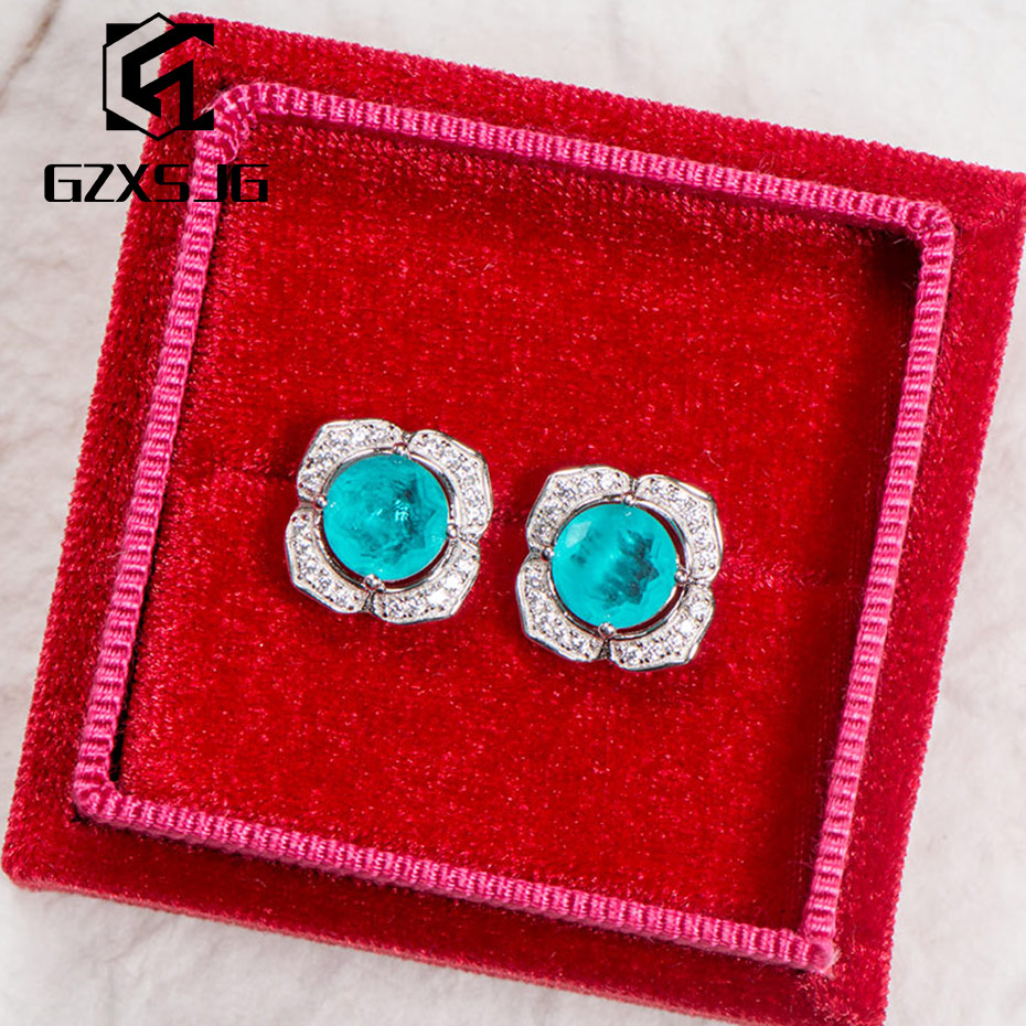 GZ Paraiba Tourmaline Gemstones Stud Earrings For Women Solid 925 Sterling Silver Blue Gemstone For Engagement New Arrival 2020