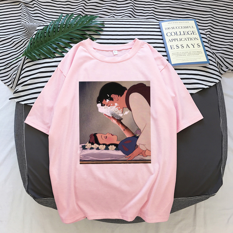 Fashion Summer New Spoof Snow White Funny Print Harajuku Casual Pink Personality Vogue Streetwear Tracksuit Women's Shirt Tshirt