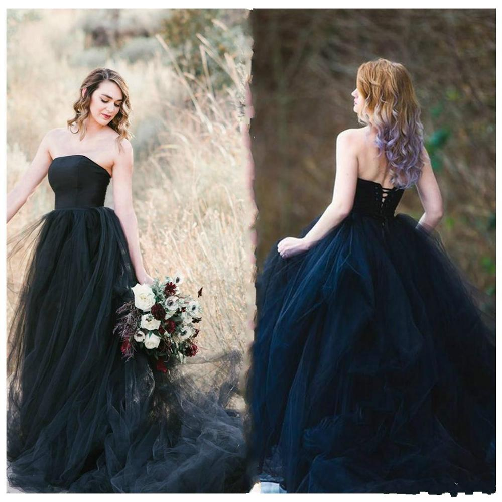 Vintage Black Gothic Wedding Dress Strapless Boho Winter Wedding Dresses Tulle Princess Lace Up Bohemian Turkey Wedding Gowns