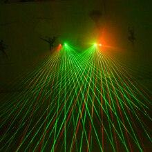 Guantes láser para actuación de baile, luz de Palma láser para Club de DJ/fiesta/bares puesta en escena, accesorios personales, color rojo y verde