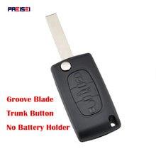 PREISEI 3 кнопки CE0523 флип-чехол для дистанционного ключа от машины Fob для Peugeot 307 407, чехол для ключей, замена лезвия, канавка