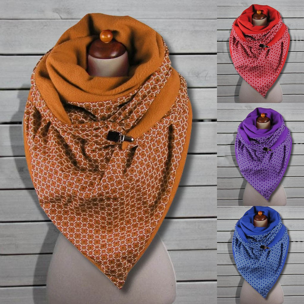 Scarf For WomenFashion Women Soild Printing Button Soft Wrap Casual Warm Scarves Shawls шарф женский Scarf For Women 2020