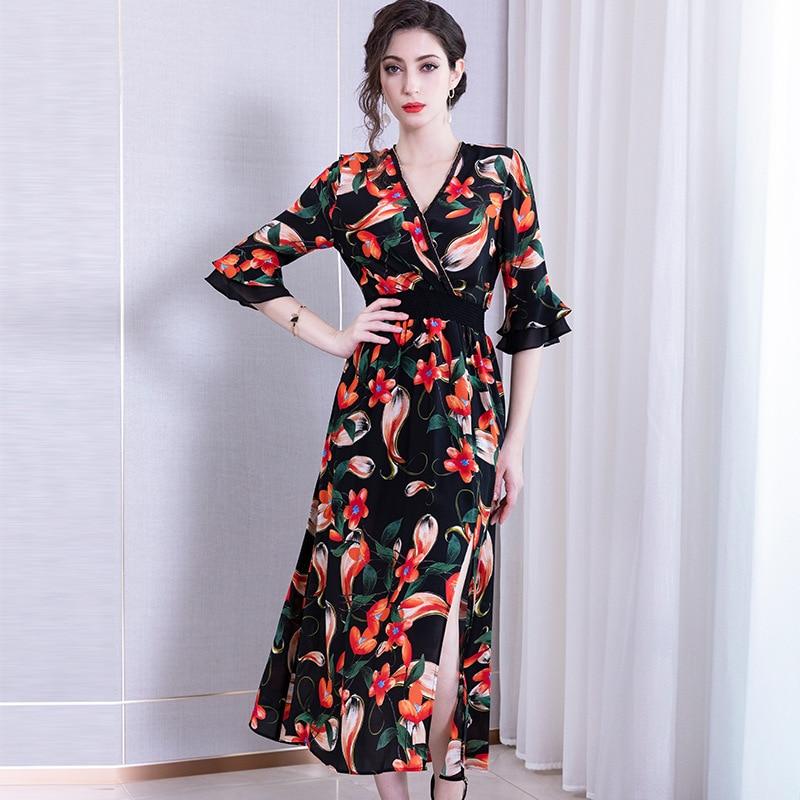 Luxury Elegant Silk Wrap Dress Women Fahsion Show Floral Print V-neck Split Long Silk Dress for Party Vintage Ladies Dresses