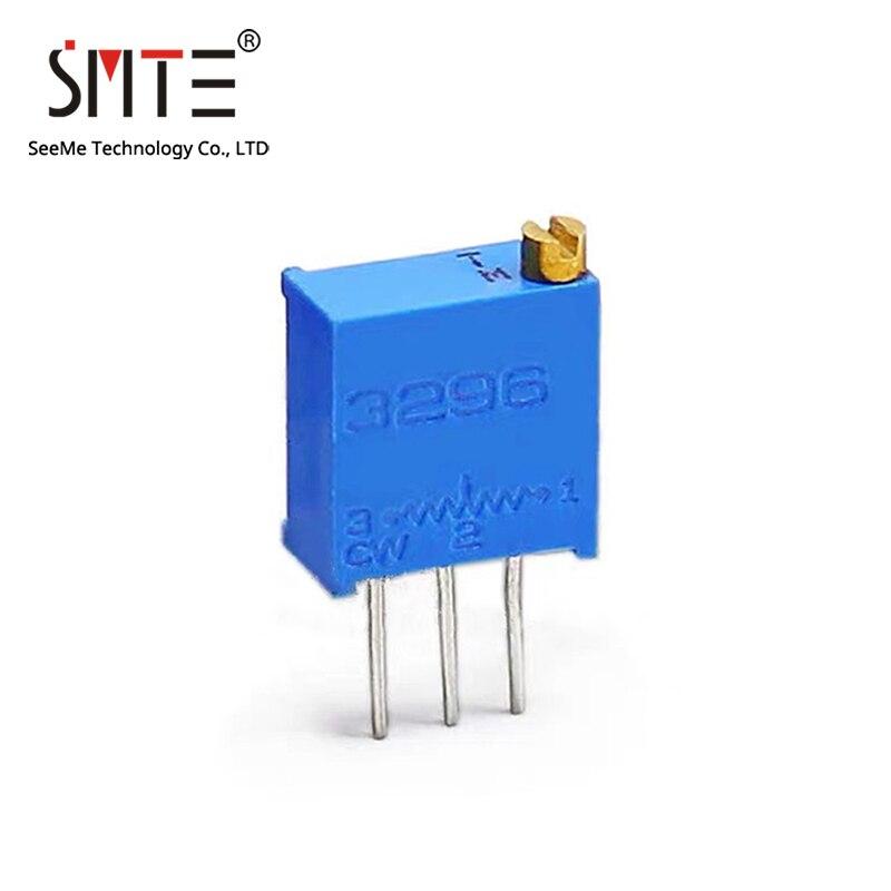 10pcs 3296W 10 20 50 100 200 500 Ohm Trimmer Resistors Through Hole Trimmer Potentiometer