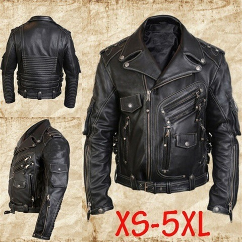 Motorcycle Clothing Zipper Cardigan Leather Button Multi-pockets Decoration Cool Design Men Versatile Coat Travel Overcoat