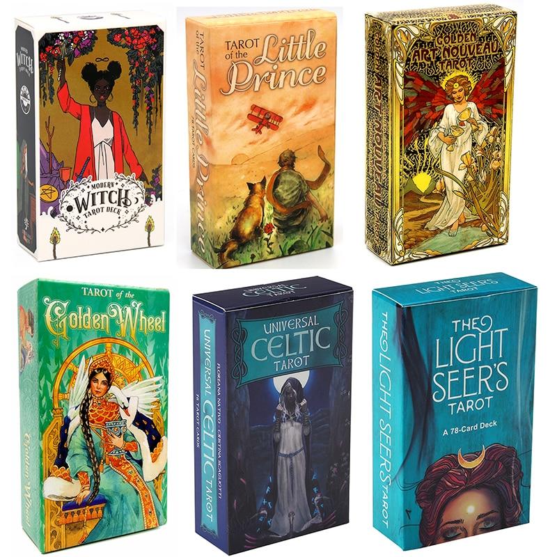 Golden Art Nouveau Tarot Romantic Little Prince Cards Modern Witch Tarot Deck Light Seer's Tarot Deck Cards Family Party Game