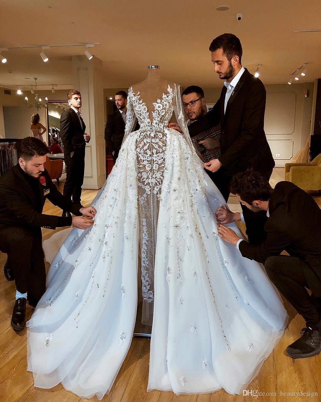 Sparkly Luxurious African 2020 Wedding Dresses With Skirts Lace Beaded Sheath Bridal Dresses Long Sleeves Through Wedding Gowns