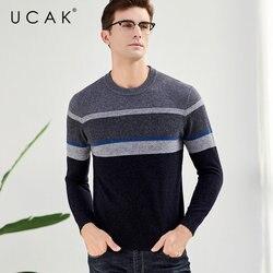 UCAK бренд мериносовой шерстяной мужской свитер модный Повседневный большой полосатый с круглым вырезом Pull Homme осень зима толстый кашемировы...