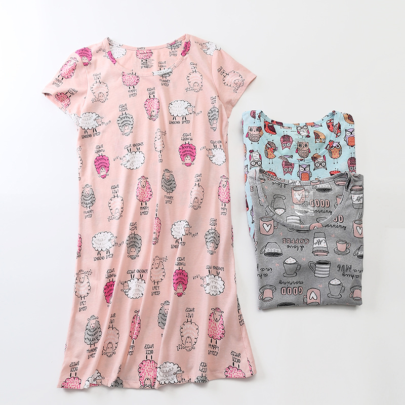 Night Dress 100% Cotton Nightgown Short Sleepwear Lovely Nightwear Cartoon Nighties For Women  Printed Night Dress Nighty