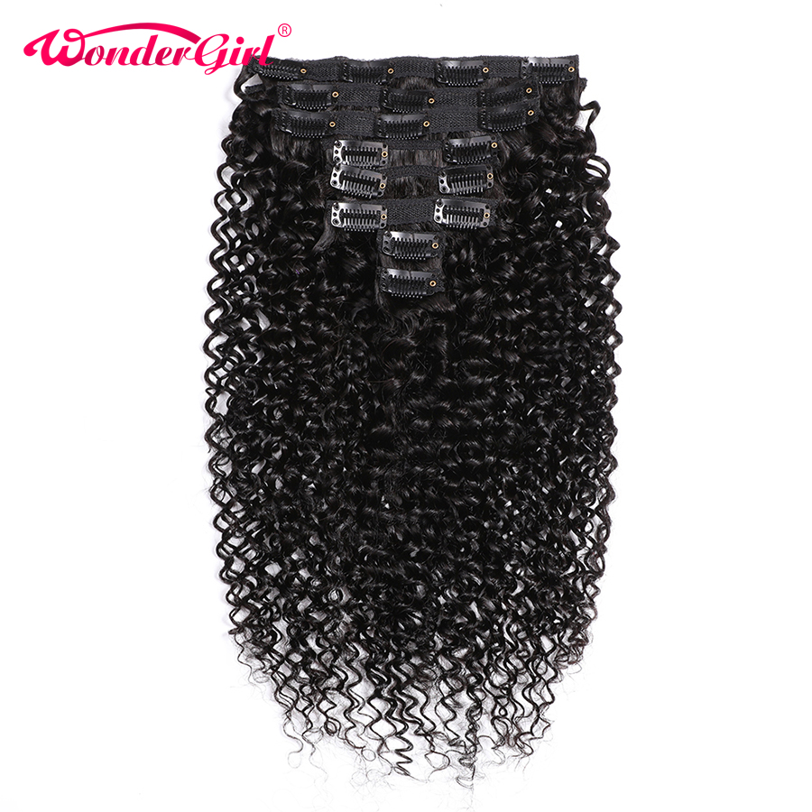 Brazilian Kinky Curly Clip Ins 3B 3C 10-28inch Clip In Human Hair Extensions Remy 8Pcs/Set #1B Full Head 120gram Wonder Girl