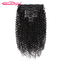 Brazilian Kinky Curly Clip Ins 3B 3C 10 28inch Clip In Human Hair Extensions Remy 8Pcs/Set #1B Full Head 120gram Wonder girl