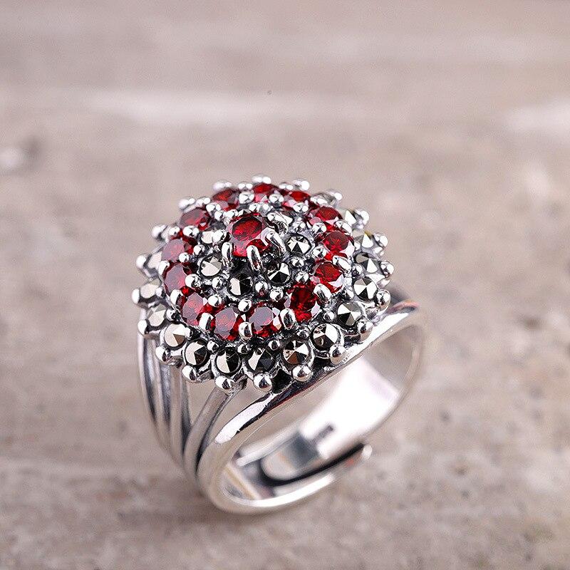 Nouveautés mosaïque pierre bijoux bague en argent Sterling bague rétro S925 en argent Sterling rouge gemme bague en argent