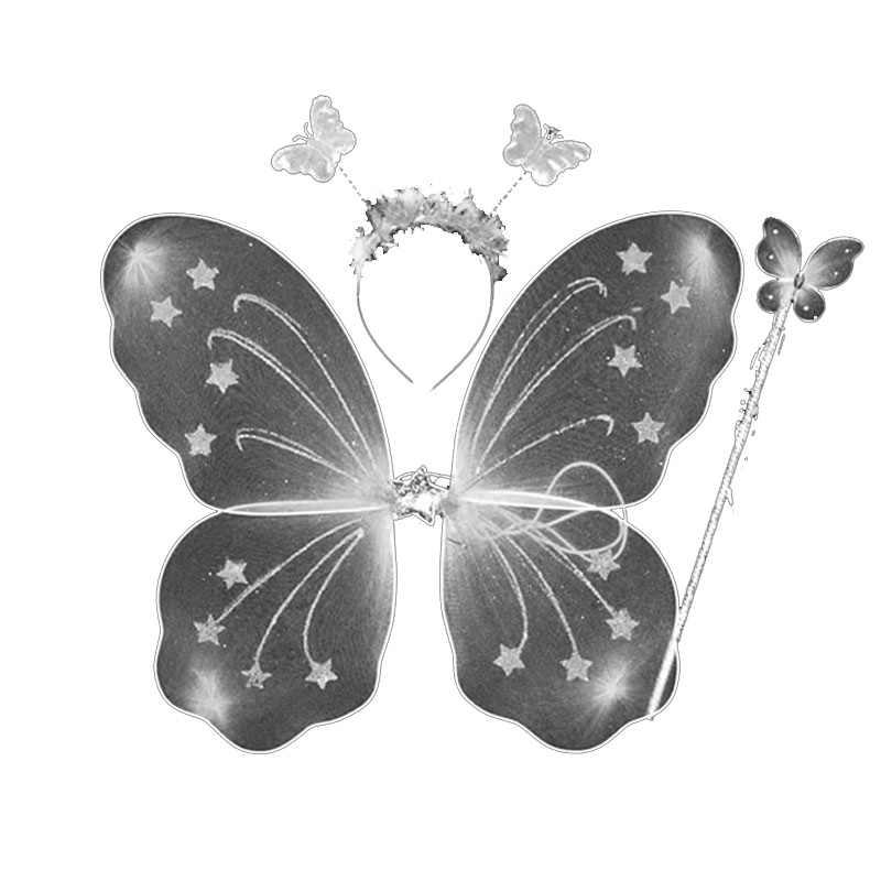 羽衣装王女の子供の蝶の羽杖ヘッドバンド妖精パーティー誕生日ダンス 3 ピース/セット