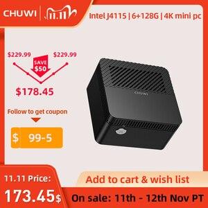 CHUWI LarkBox самый маленький в мире 4K мини ПК Intel Celeron J4115 четырехъядерный 6 Гб RAM 128 ГБ ROM Windows 10 настольный компьютер HDMI USB-C