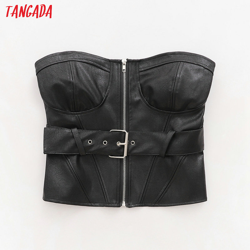 Tangada Women Faux Leather Beige Black Tops With Belt Sexy Tanks Zipper Strappy Backless Short Tops 2020 Camis 1D05