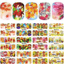 12pcs/set Autumn Style Yellow Red Maple Leaf Labels Nail Sticker Water Transfer Nail Art Stickers Nail Decals Wraps Decor(China)