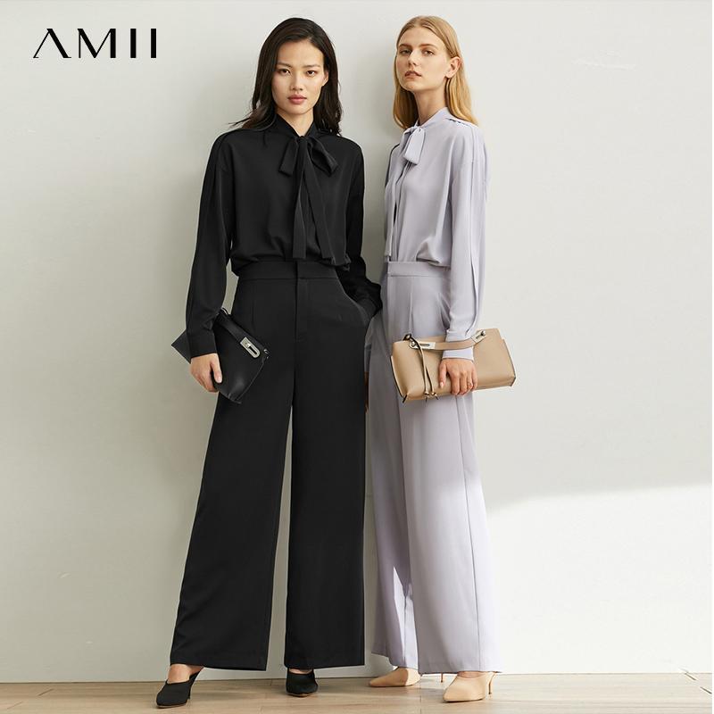 Amii Spring Minimalist French Style Two-piece Suit Set Women Modern Leisure Parisian Wind Shirt Broad-legged Trousers 11930258