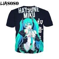 Футболка Hatsune Miku LIASOSO, забавная футболка для женщин и мужчин, аниме, для девочек, с 3D принтом, унисекс, хип-хоп, спортивная одежда, топы, пуловер...