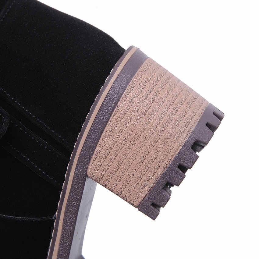 ESVEVA 2020 gommage carré talon haut fermeture éclair antidérapant bottines automne hiver décontracté bout rond boucle femmes chaussures grande taille 34-43