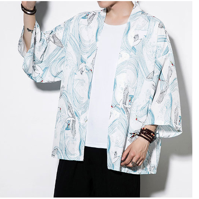 Crane Robe Japanese Style Kimono Gown For Men&women Loose Sunscreen Cardigan Chinese Element Han Fu Kimono Haori Plus Size 5XL