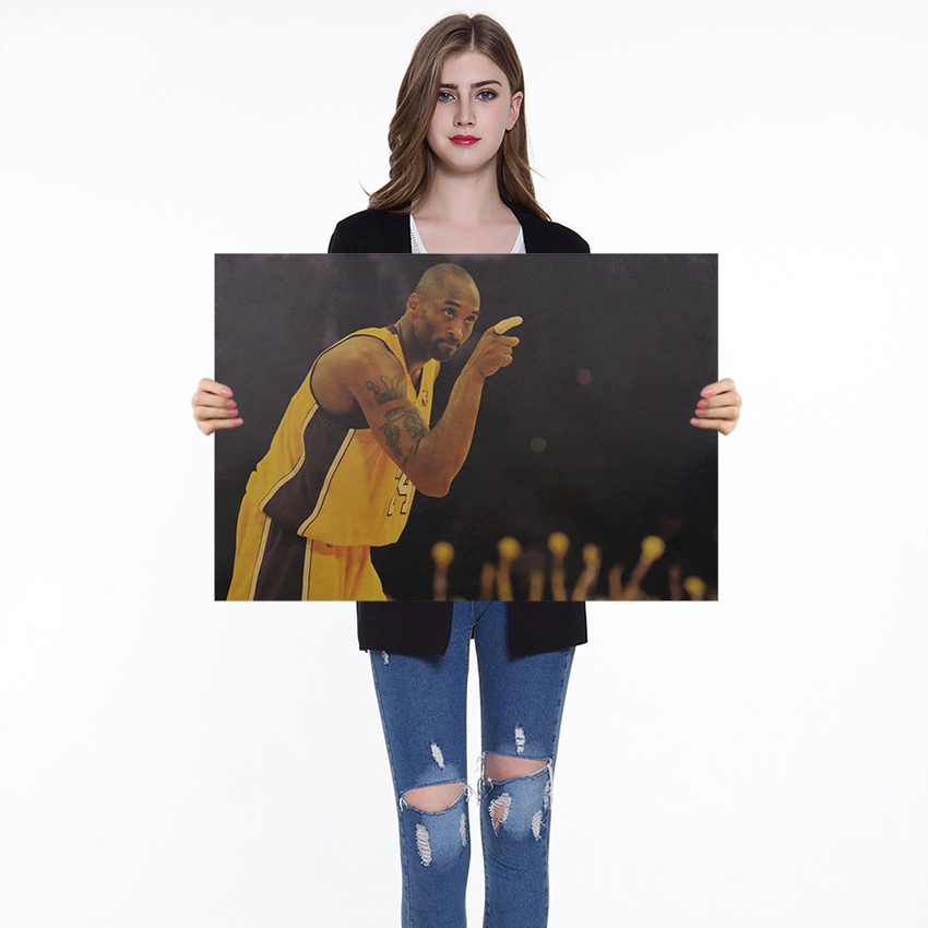 Kraft Paper Poster Cafe Bars Kitchen Decor Basketball Star Posters Adornment Vintage Poster Retro Wall Stickers 50.5x35cm
