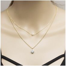 Stylish zircon necklace Double pearl clavicle chain  statement Bohemian Pearl Pendant Necklace Female gift