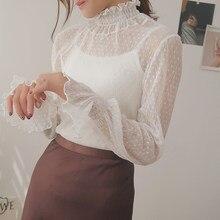 Blusa holgada coreana transparente para mujer, blusas de encaje en 3 colores, blusas de talla grande, blusas más baratas 2020