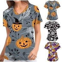 Summer Nurse Uniforms Women Pharmacy Pet Shop Plus Size Short Sleeve V-Neck Cartoon Pumpkin Print Workwear Tops Медицина Одежда