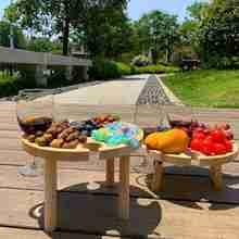 2 Size Original Wooden Outdoor Folding Table Picnic Wine With Glass Snack Holder 2 In 1 Rack Wooden Table Desktop Hiking Camping