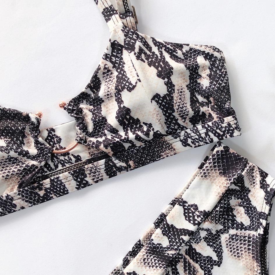 Sexy Snake Print Bikini 2019 Female Swimsuit Women Swimwear Thong Push Up Bikinis Set High Waist Swimming Suits for Bathing Suit 5