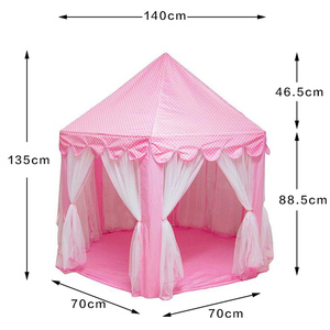 Image 5 - Children Garden Hut Princess Pink Castle Fabric Tents Lodge Girls Boys Outdoor Folding Play Tent Lodge Child Ball Pool Playhouse