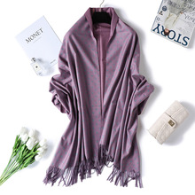 Winter Scarf for Women Thick Cashmere Dot Print Double-sided Pashmina Warm Shawls Wraps Large Tassel Lady Wool Stoles Blanket black double sided cashmere wool cashmere fabrics jacquard silk fabric scarf skirt scarf dressmaking materials yards h435