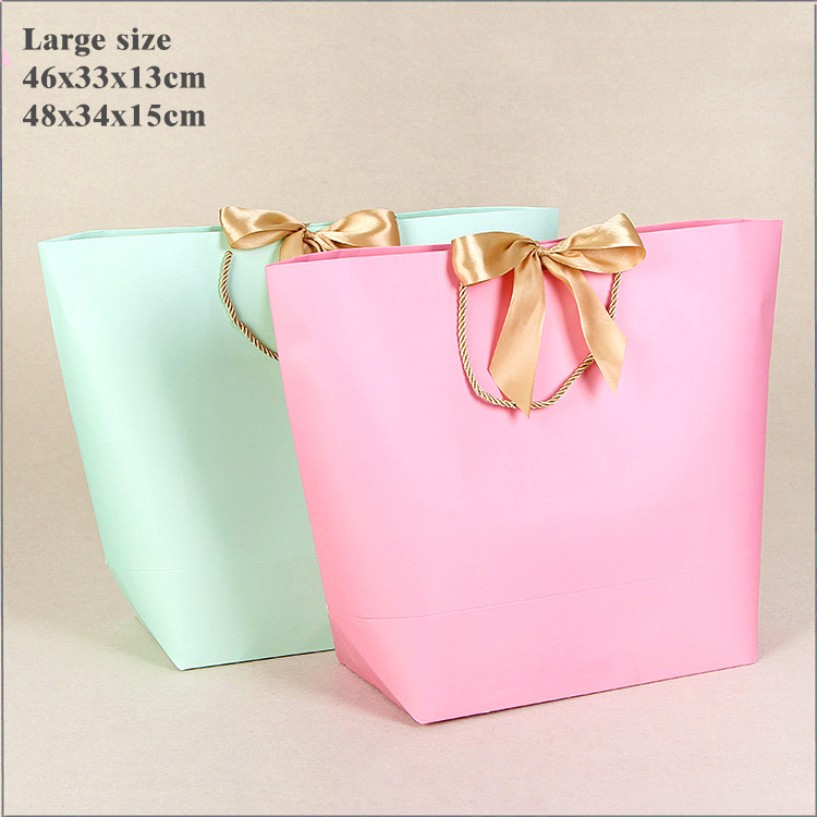 10x <font><b>Large</b></font> Size <font><b>Gift</b></font> <font><b>Box</b></font> <font><b>Packaging</b></font> Gold Handle Paper <font><b>Gift</b></font> Bags Kraft Paper With Handles Wedding Baby Shower Birthday Party Favor image