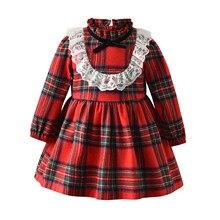Красное нарядное платье-пачка в клетку для маленьких девочек; праздничное платье принцессы с длинными рукавами; одежда для рождественских праздников; кружевное Новогоднее платье