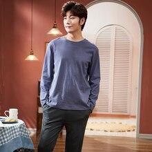MELIFLE Autumn Solid Male Pajamas Set 100% Cotton PJS Satin
