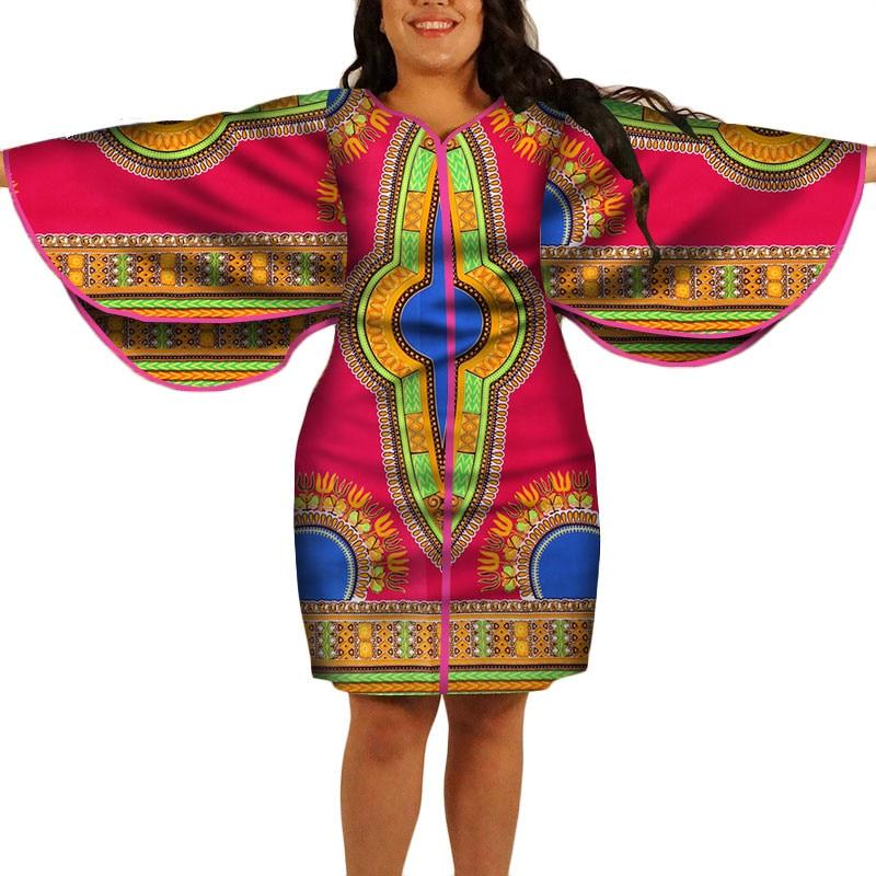Dashiki African Print Dresses 2019 New Plus Size Butterfly Sleeve Ankara Dresses Brief Knee Length Batik Robe Africaine