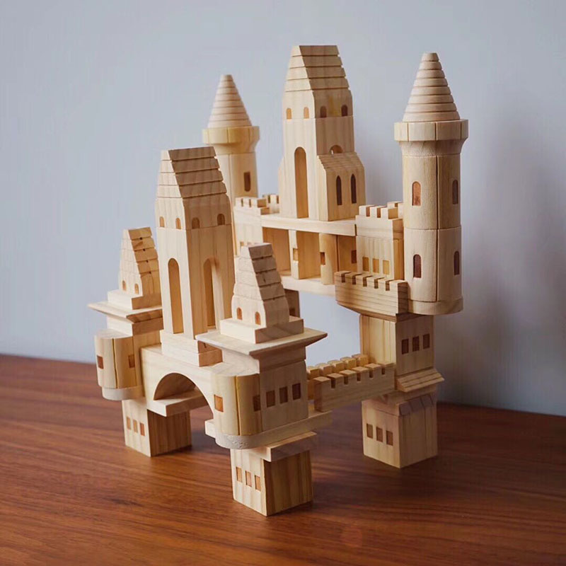 66 75pcs box Children Original Wooden Castle Building Blocks Kids Log Wooden Construction House Block DIY