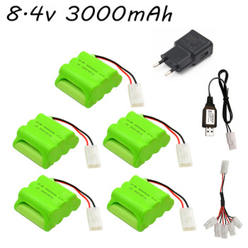 Ni-Mh 8.4v 3000mAh Battery AA NIMH Rechargeable Battery Pack + USB Charger Set For RC Toys Cars Boats Robots Tanks Guns Parts image