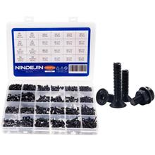 цена на NINDEJIN 1060pcs/set M2 M3 M4 M5 Hex Socket Screw Carbon Steel Screws Bolts and Nuts Washers Assortment Kit with Storage Box