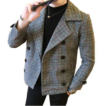 Men's autumn winter new British style trendy lattice thicker Double Breasted woolen coat short paragraph Warn Slim jacket