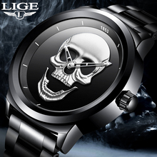 LIGE Mens Watche Top Brand Skull Quartz Clock Luxury Fashion Business Stainless